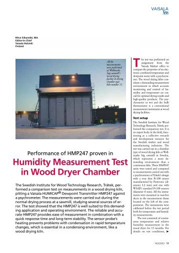 Humidity Measurement Test in Wood Dryer Chamber - Vaisala