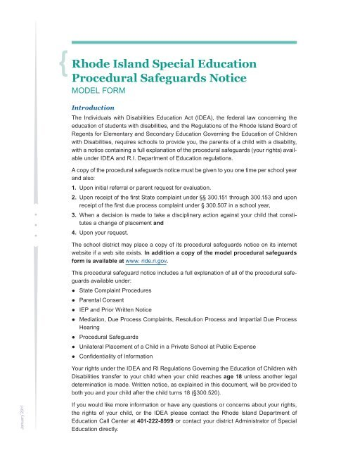 Special Education Procedural Safeguards >> Rhode Island Special Education Procedural Safeguards Notice