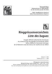 Ringgrössenverzeichnis Liste des bagues - Kleintiere Schweiz