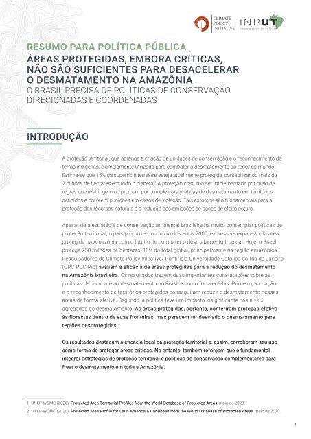 Áreas protegidas, embora críticas, não são suficientes para desacelerar o desmatamento na Amazônia