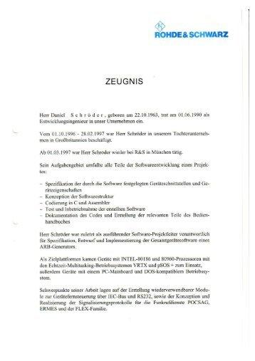 Zeugnis Rohde & Schwarz
