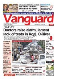 27052020 - Doctors raise alarm, lament lack of tests in Kogi, C-River
