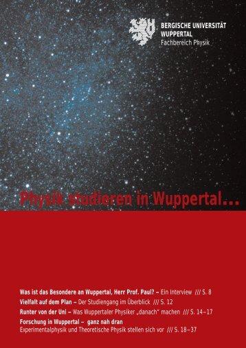 Physik studieren in Wuppertal… - Astroteilchenphysik - Bergische ...