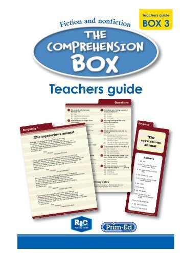 The Comprehension Box Teachers Guide - Box 3