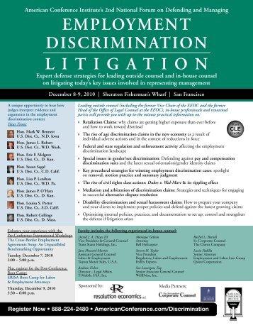 EMPLOYMENT DISCRIMINATION LITIGATION - Alston & Bird LLP