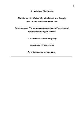 Dr. Volkhard Riechmann Ministerium für Wirtschaft, Mittelstand und ...