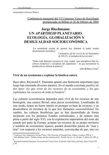 Jorge Riechmann: UN APARTHEID PLANETARIO ... - Istas - CCOO