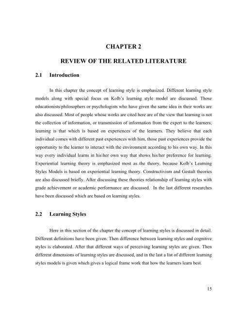 chapter  review   related literature higher education