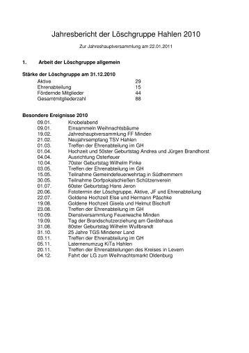 Jahresbericht der Löschgruppe Hahlen 2010 - Feuerwehr Minden