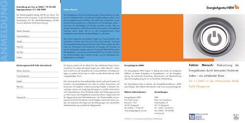 ANMELDUNG - NRW spart Energie