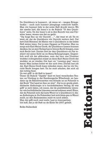 Dat Letzt - Quickborn. Vereinigung für niederdeutsche Sprache und ...