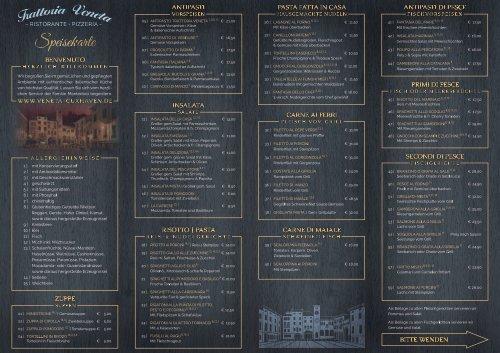 Speise- und Getränkekarte Trattoria Veneta