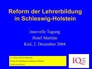 Reform der Lehrerbildung in Schleswig-Holstein - innovelle-bs