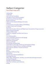 Subject Categories