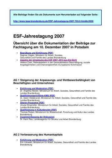 ESF-Jahrestagung 2007 Übersicht über die Dokumentation der ...