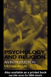 Psychology and Religion : An Introduction