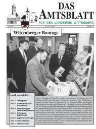Wittenberger Bautage Inhaltsverzeichnis - Landkreis Wittenberg