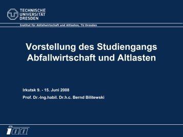 Vorstellung des Studiengangs Abfallwirtschaft und Altlasten