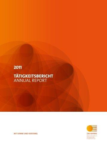2011 TäTigkeiTsberichT AnnuAl RepoRt - ZAE Bayern