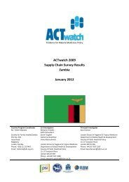 ACTwatch 2009 Supply Chain Survey Results Zambia January 2012