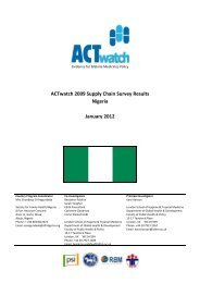 ACTwatch 2009 Supply Chain Survey Results Nigeria January 2012