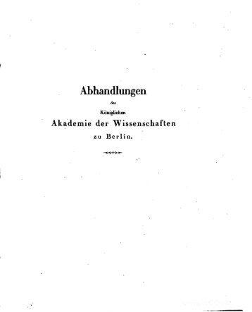 Abhandlungen der Königlich Preussischen Akademie der ...