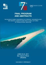 7 th ISABS Conference in Forensic, Anthropologic and