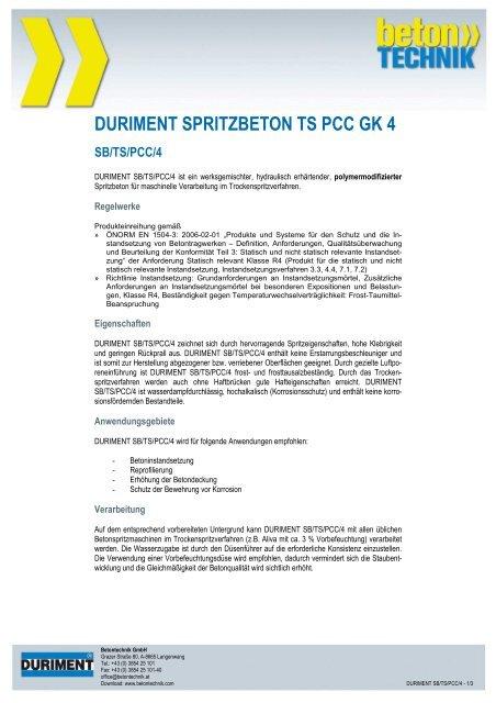 DURIMENT SPRITZBETON TS PCC GK 4 - Betontechnik