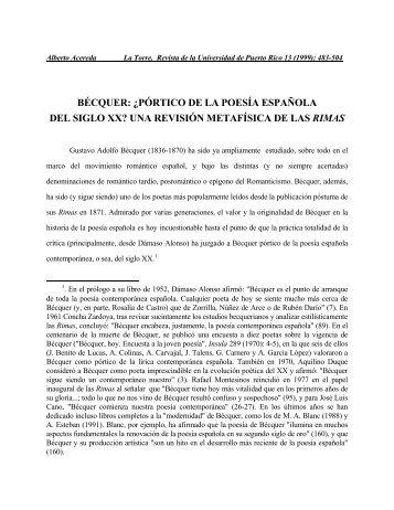 BÉCQUER: ¿PÓRTICO DE LA POESÍA ... - Alberto Acereda