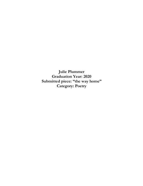 Geballe Prize Winner 2020   Poetry, Julie Plummer