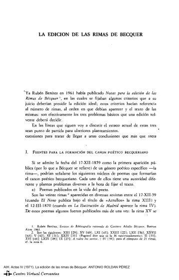 Actas IV. AIH. La edición de las rimas de Bécquer. ANTONIO ...