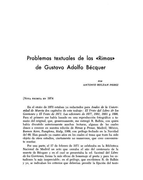 Problemas Textuales De Las Rimas De Gustavo Adolfo Bécquer