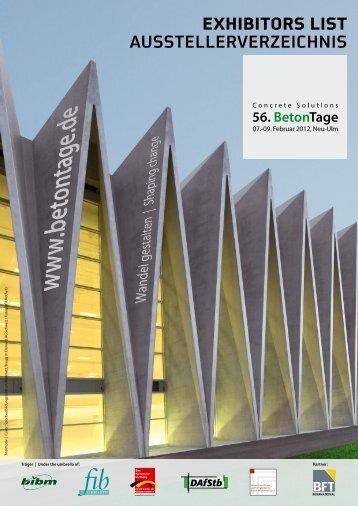 EXHIBITORS LIST AUSSTELLERVERZEICHNIS - BFT International