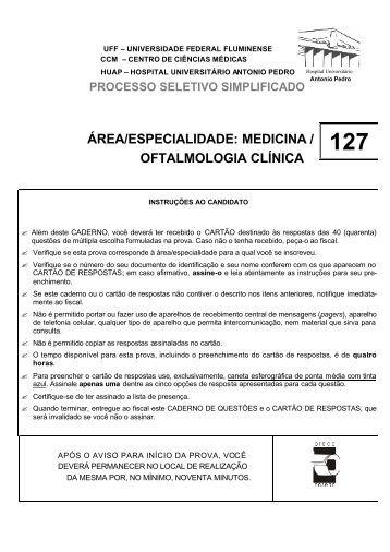ÁREA/ESPECIALIDADE: MEDICINA / OFTALMOLOGIA CLÍNICA - Uff