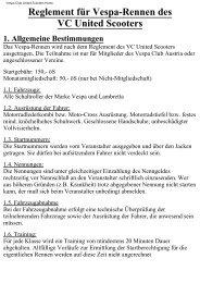 Reglement für Vespa-Rennen des VC United Scooters 1. Allgemeine