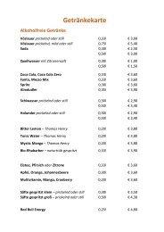 Getränkekarte Restaurant-Hermann