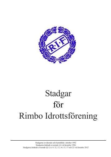 Stadgar för Rimbo Idrottsförening - Rimbo IF