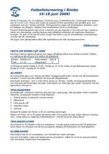 Fotbollsturnering i Rimbo 16-18 juni 2006! - Rimbo IF
