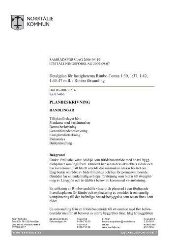 Detaljplan för fastigheterna Rimbo-Tomta 1:30, 1:37, 1:42 ... - Norrtälje