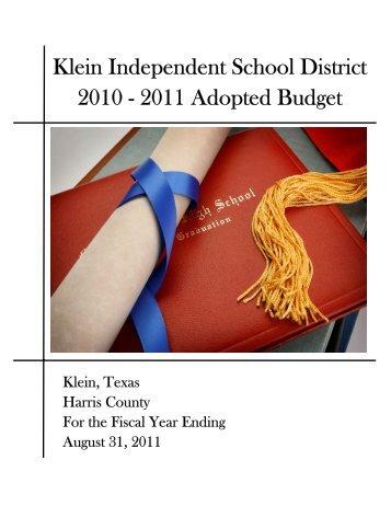 Klein Independent School District 2010 - 2011 Adopted Budget
