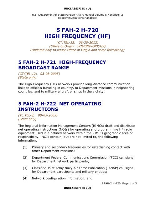 5 FAH-2 H-720 Managing Radio Networks - US Department of State