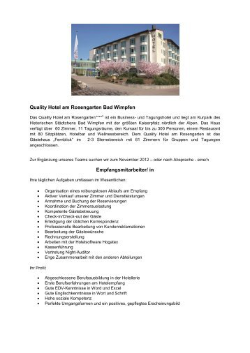 Empfangsmitarbeiter - RIMC International Hotel Resort Management ...