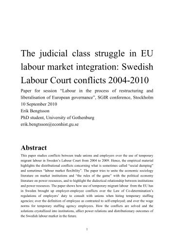 The judicial class struggle in EU labour market ... - Stockholm 2010