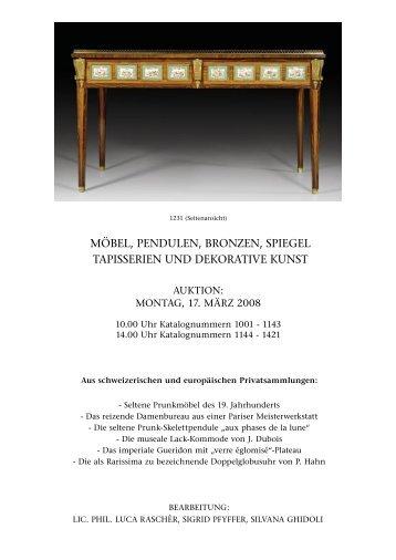 möbel, pendulen, bronzen, spiegel tapisserien ... - Koller Auktionen