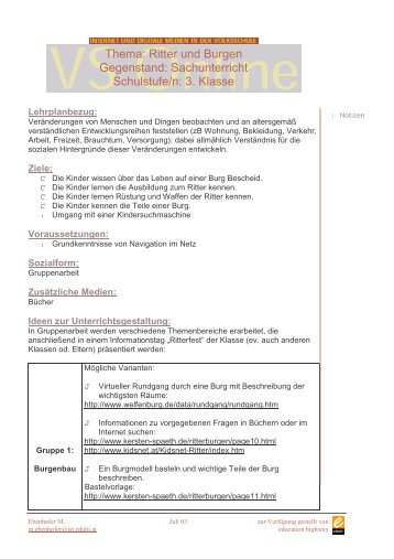 Ritter und Burgen Gegenstand: Sachunterricht Schulstufe/n: 3. Klasse