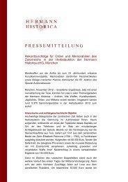 Pressemitteilung Auktionser- gebnisse Hermann Historica