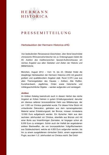 Pressemitteilung Auktionsan - Hermann Historica