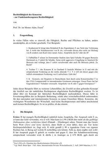 Rechtsfähigkeit des Konzerns - Prof. Dr. iur. Menno Aden