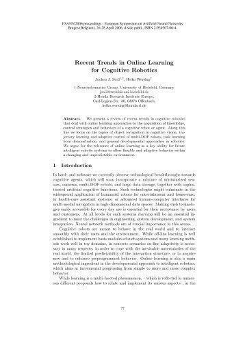 Recent Trends in Online Learning for Cognitive Robotics - ELEN