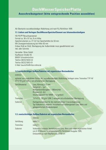 DachWasserSpeicherPlatte Ausschreibungstext (bitte ... - Ritter GmbH